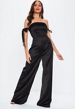 c51b708c831ad5 BNWT Missguided Bardot Jumpsuit Size 8 Black Strappy Tie Sleeve Satin Wide  Leg