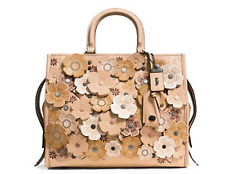 COACH 1941 1941 Tea Rose Applique Leather Rogue Bag Beige