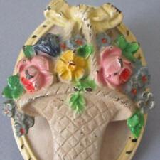 Antique 1920s HUBLEY Cast Iron Door Knocker French FLOWER Basket ROSES + BOW #13