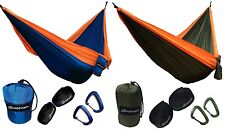 JoshNAh Double Camping Hammock with Tree Straps & Aluminum Carabiners - COMPLETE