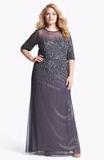 Adrianna Papell Beaded Illusion Bodice Mesh Gown Plus Sz 14W - $335