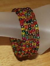 Autumn Beaded Coil / Wrap Bracelet USA Made Multi Brown Gold Fall Glass Bead Mix