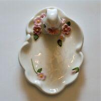 Avon Ceramic Trinket Soap Dish Bunny Rabbit Floral Easter Vintage 1985 EUC