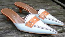 CARINA SLIDES, Pale Blue Caramel Trim Low Kitten Heels, Made in Spain 7.5B
