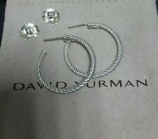 David Yurman Sterling Silver Cable Hoop Earrings 1 inch Authentic