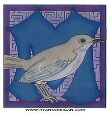 "phish alPHabet MAGNETS 2""x2"" letter M for mockingbird ( by KERRIGAN )"