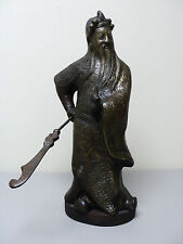 "ANTIQUE CHINESE FENGSHUI BRONZE 16"" GUAN GONG YU WARRIOR GOD STATUE"