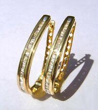 Orecchini a cerchio Diamante Baguette 0,60 Carato Wesselton bianco SI ad anello