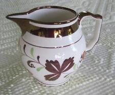 """Gray's Pottery Copper Luster Trimmed Strawberry 4.25"""" Pitcher"""