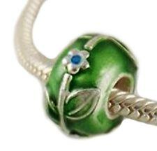 Sterling Silver Cloisonne Green Bead 3mm European Charm for Pandöra Bracelet
