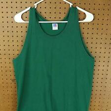 vtg 80's 90's RUSSELL sleeveless t-shirt LARGE green tank top blank usa made