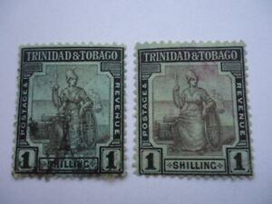 Trinidad & Tobago QV 1896-1900 SG154a 1/- Black & Green Used two copies