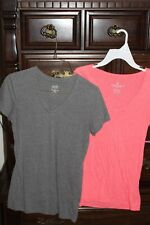 Lot of 2 Womens AE Soffee T Shirts Pink Gray XS S
