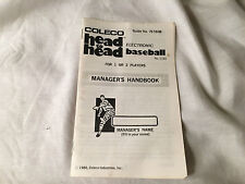 Vintage 1980 Coleco Head to Head Electronic Baseball Game INSTRUCTION MANUAL ONL