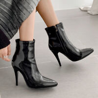 Women's Pointed Toe Booties Zipper Slim High Heel Stilettos Short Ankle Boots