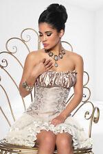 Cream gold Jacquard corsage corset size 10 small satin silk lace sexy elegant