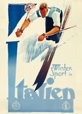Vintage Ski Posters WINTER SPORT IN ITALIEN, Italy, 1934, Art Deco Travel Print
