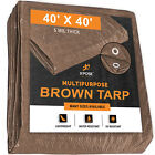 Multipurpose Protective Cover Brown Poly Tarp 40' x 40' - Durable,5 Mil