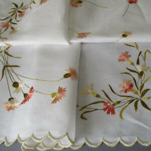 """Antique LINEN Table Topper Hand Embroidered SOCIETY SILK Pink CARNATIONS 34""""X25"""""""