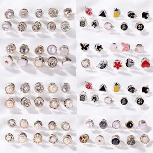 10pcs Badges Pin Brooch Crystal Pearl Metal Lapel Pins Seamless Clothes Badge