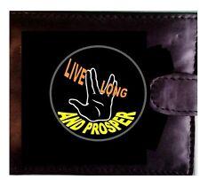 LIVE LONG AND PROSPER. Star Trek  SPOK Genuine Leather Wallet 14 X COMPARTMENTS.