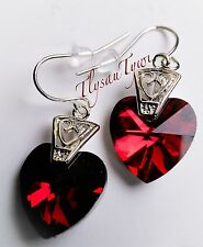 Red Crystal Heart Earrings..❤...Stunning...Silver Plated Hooks...