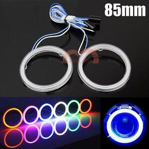 2x 85mm COB Angel Eyes Car Headlight Blue Halo Ring LED Lights DRL Warning Lamp