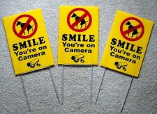"3 NO DOG POOP - SMILE YOU'RE ON CAMERA 8""X12"" Plastic Coroplast Signs w/Stakes y"