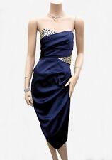 Robe ASOS T 36 S 1 Dos nu Bleu Satin Perles Soirée Bretelles Fête Tunic Dress