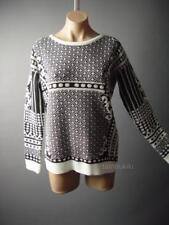 Sale Black Ivory Geometric Pattern Crew Neck Pullover Jumper 57 ac Sweater OS