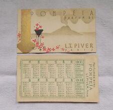 1 ANCIENNE CARTE PARFUMEE POMPEIA LT PIVER PARIS PUBLICITAIRE 1931