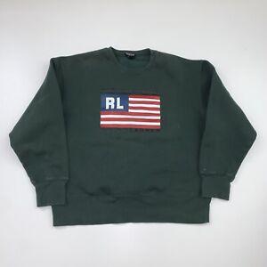 Vintage Polo Jeans Ralph Lauren Crewneck Sweatshirt Size XL Green