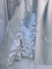 VERY NICE WOMANS 1 BUTTON BLAZER IN GRAY WITH WHITE STICH DETAIL,LINED-SIZE 14