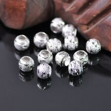 50pcs 8mm Round Silver Carved Big Hole Metal Brass Alloy Loose Spacer Beads