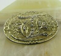VINTAGE Sterling Silver Filigree Pin Brooch Marcasite Gold-Washed Oval GERMANY