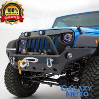 Black Full Width Rock Crawler Front Bumper+Winch Plate fit 07-18 Jeep Wrangler