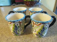 SET OF 4 ESPANA BOCCA LIFESTYLE UNLIMITED BLUE FLORAL SWIRL COFFEE MUGS - EUC