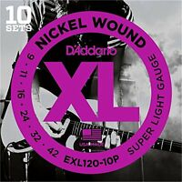 D'Addario Nickel Wound Electric Guitar Strings, Super Light, 9-42, 10 Sets