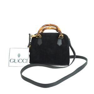 Vintage Gucci Mini Black Suede Leather Bamboo Strap Hand Bag.NFV6631