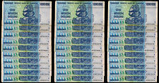 30 x 1 Million Zimbabwe Dollars Bank Notes AA AB 2008 Series Pre 100 50 Trillion