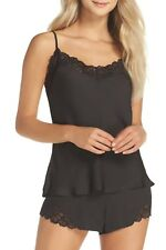Josie Colette Camisole & Short Pajamas 2-Piece Set Lace Trim Black Satin Size L