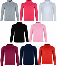 Girls' No Pattern Polo Neck Long Sleeve Sleeve T-Shirts, Top & Shirts (2-16 Years)