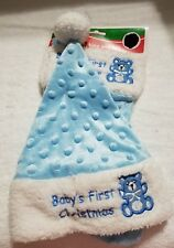 Baby's First Christmas Stocking And Santa Hat Blue With Bear 13' New