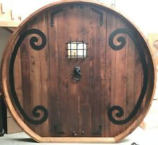 Rustic reclaimed lumber arched top door solid wood story book castle Hobbit