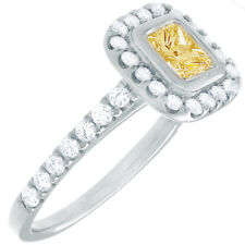 Fancy Yellow Diamond Engagement Ring 2 CT Princess & Round Cut GIA Certified 18k