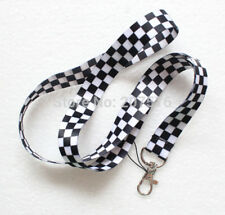 Unisex Black and White Check Pattern Key Chain Lanyard ID Holder - Brand New