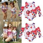 Newborn Toddler Kids Baby Girls Off Shoulder Floral Romper Outfits Set Clothes