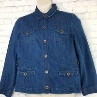 Jones New York Womens Denim Jacket XL Blue Jean Chambray Button Front Stretch