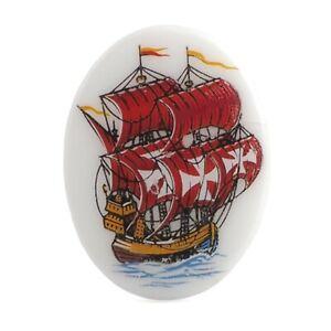 Vintage Limoges style oval galleon ship porcelain cabochon 40x30mm