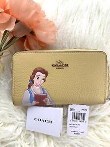 💛 Disney X Coach BELLE Medium Id Zip Leather Wallet Yellow IN HAND MSRP $228